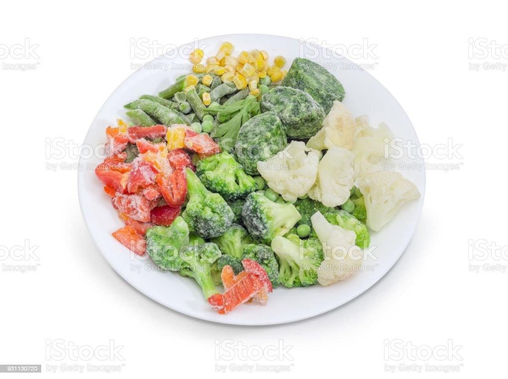 Beyaz tabak portre üzerinde çeşitli Dondurulmuş sebzeler - Royalty-free Biber - Sebze Stok görsel