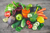 Various freshly squeezed fruit and vegetable juices