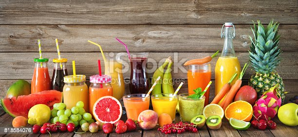 istock Various fruits and vegetables juices 818584076