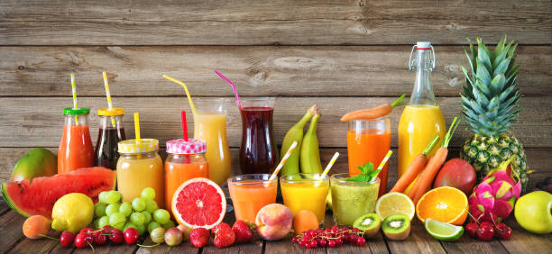 Various fruits and vegetables juices Various freshly squeezed fruits and vegetables juices vegetable juice stock pictures, royalty-free photos & images