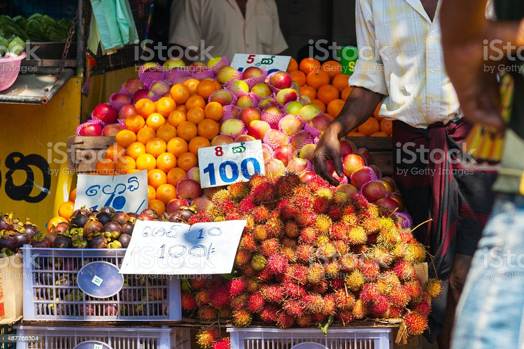 Various fruits at local market in Sri Lanka stock photo