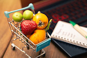 istock various fruits in the shopping cart, online shopping at home 1223280887