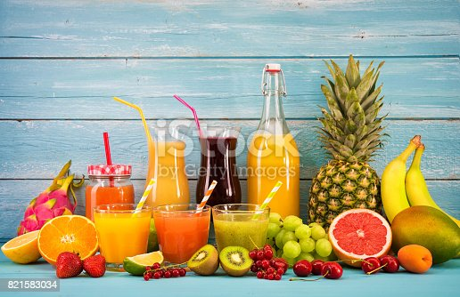 istock Various fruits juices 821583034
