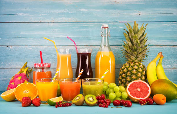 Various fruits juices stock photo