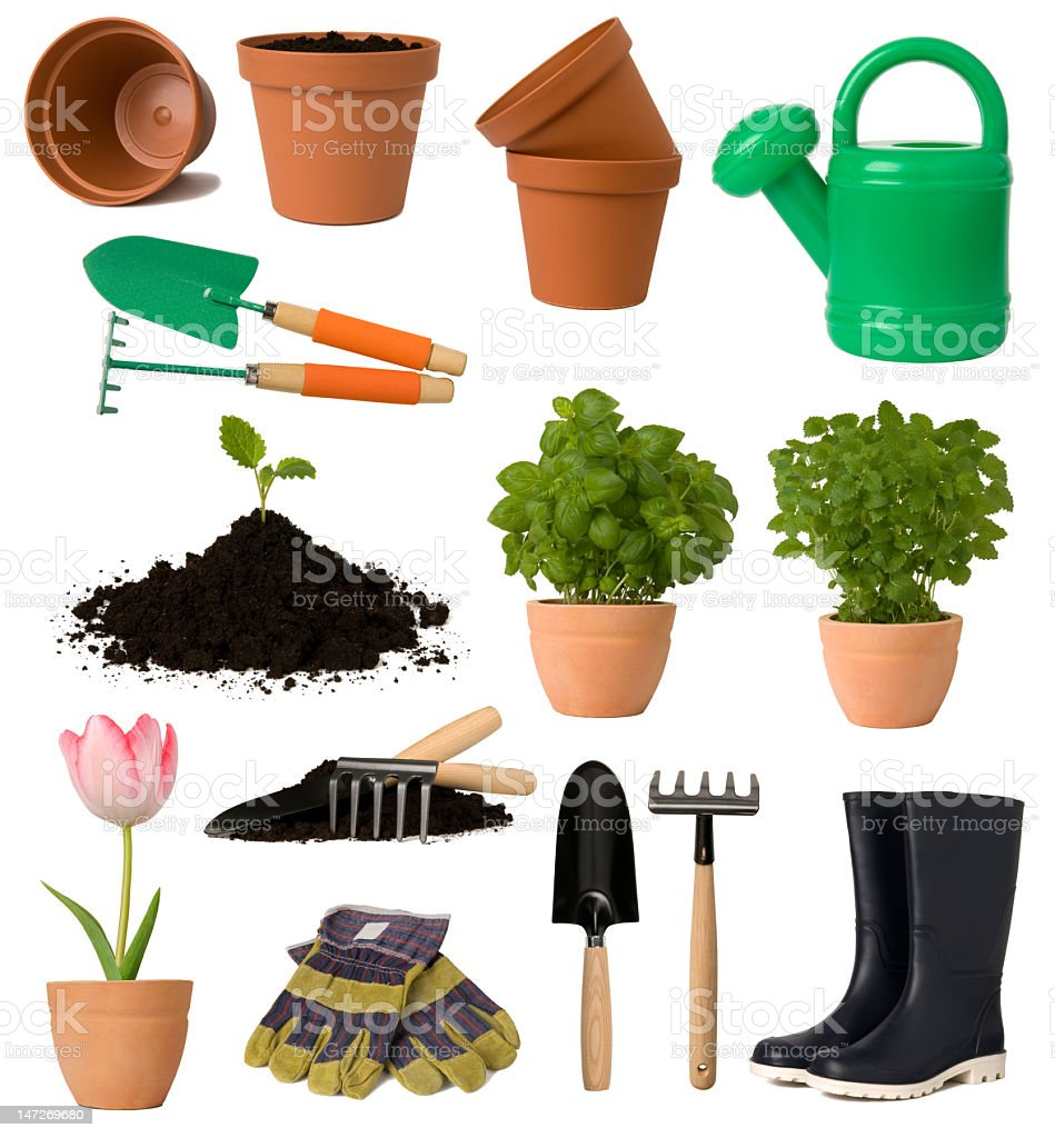 Various gardening equipment on a white background stock photo