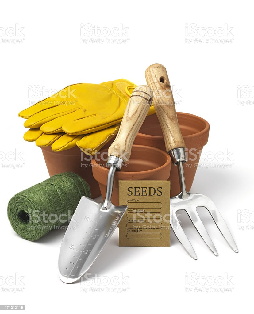 Various gardening tools and materials stock photo