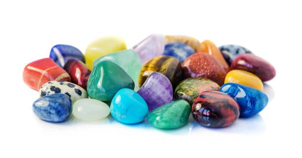 Various gems on white background stock photo