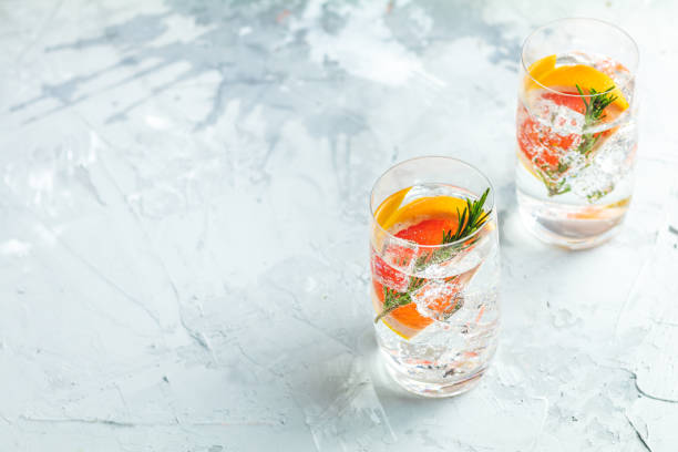 Various gin tonic mixed fancy drink cocktail stock photo