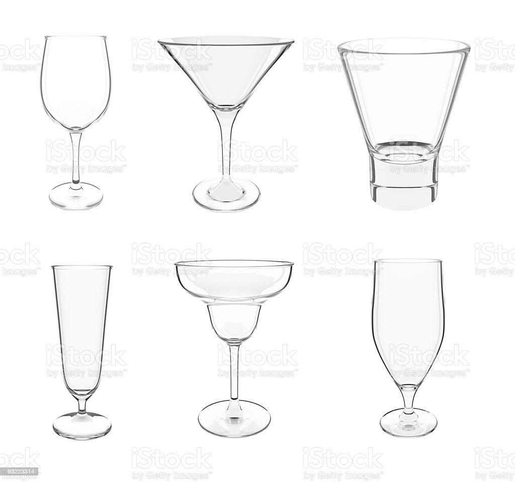 Various glasses on white stock photo