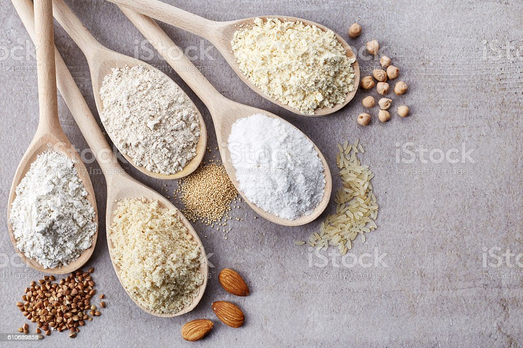Various gluten free flour stock photo