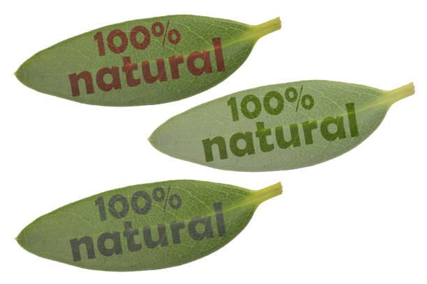 verschiedene grüne blätter mit hervorgehobenem schriftzug 100% natürlich in verschiedenen helligkeiten und farben - matheblatt etiketten stock-fotos und bilder