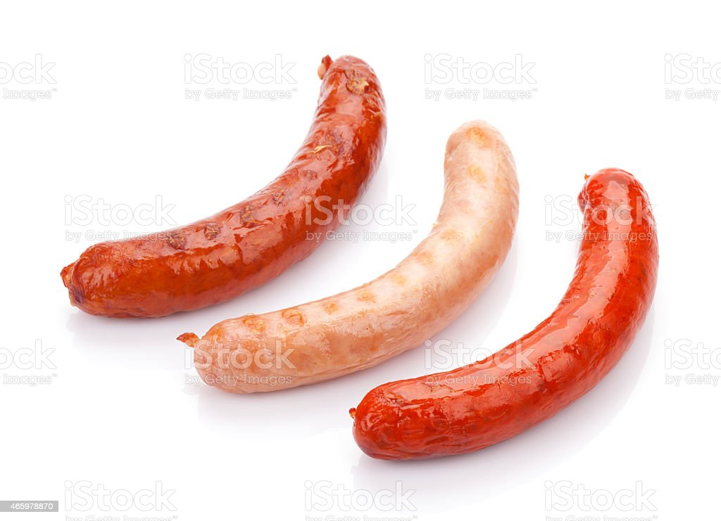 Various grilled sausages stock photo