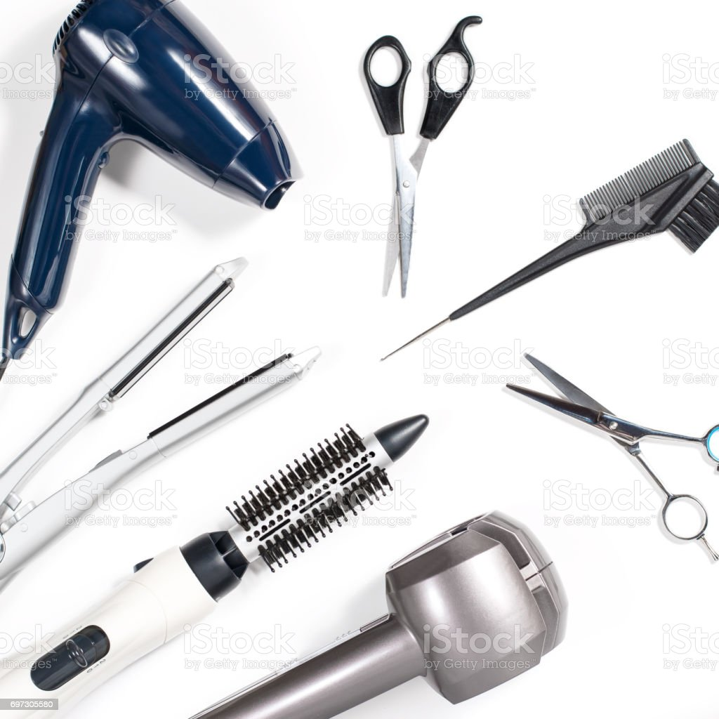 Various Hair Styling Tools On White Background Stock Photo More