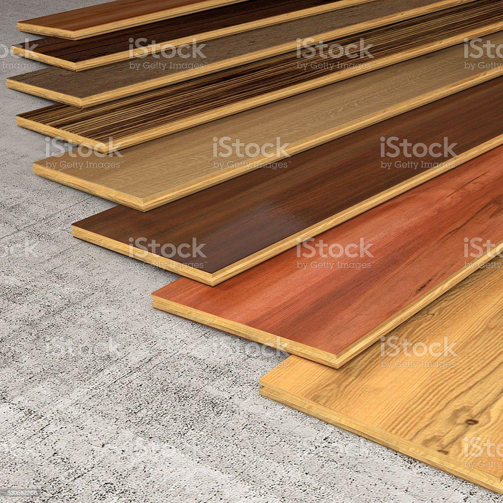 Various Hardwood planks stock photo