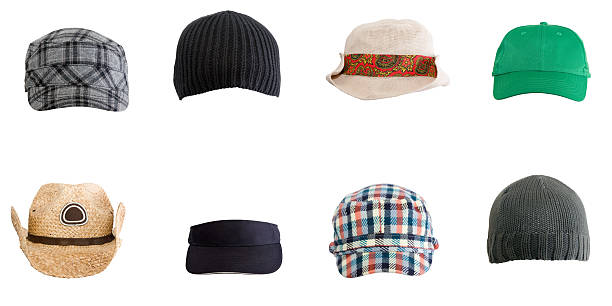Various Hats A collection of various hats isolated on white. With clipping path. baseball cap stock pictures, royalty-free photos & images