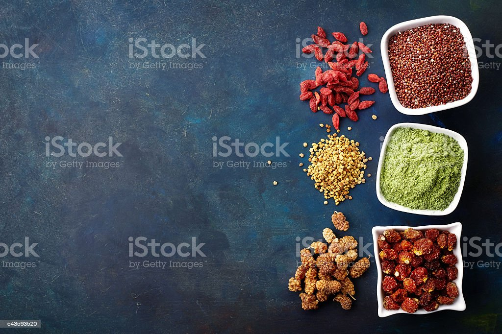 Various healthy superfoods stock photo
