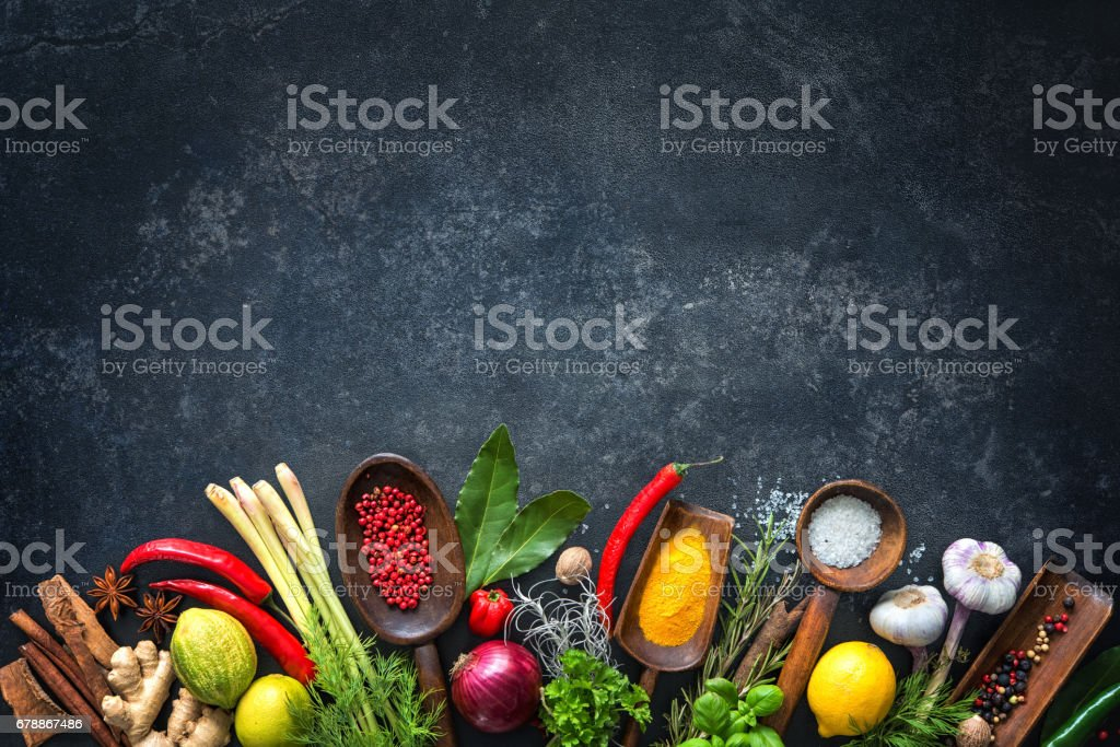 Various herbs and spices stock photo
