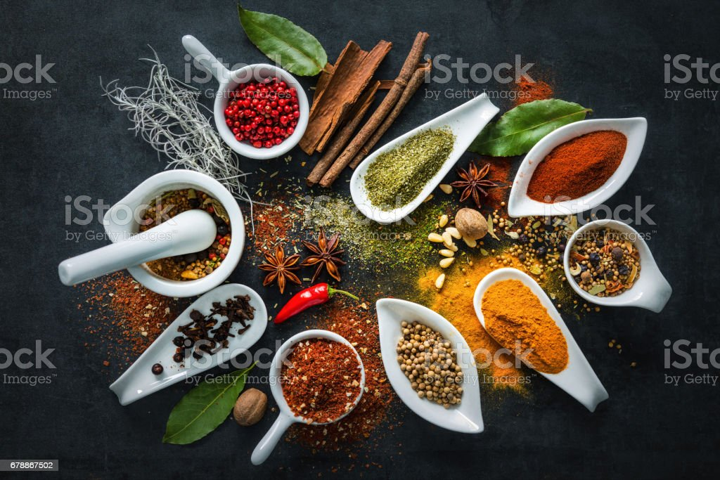 Various herbs and spices foto stock royalty-free