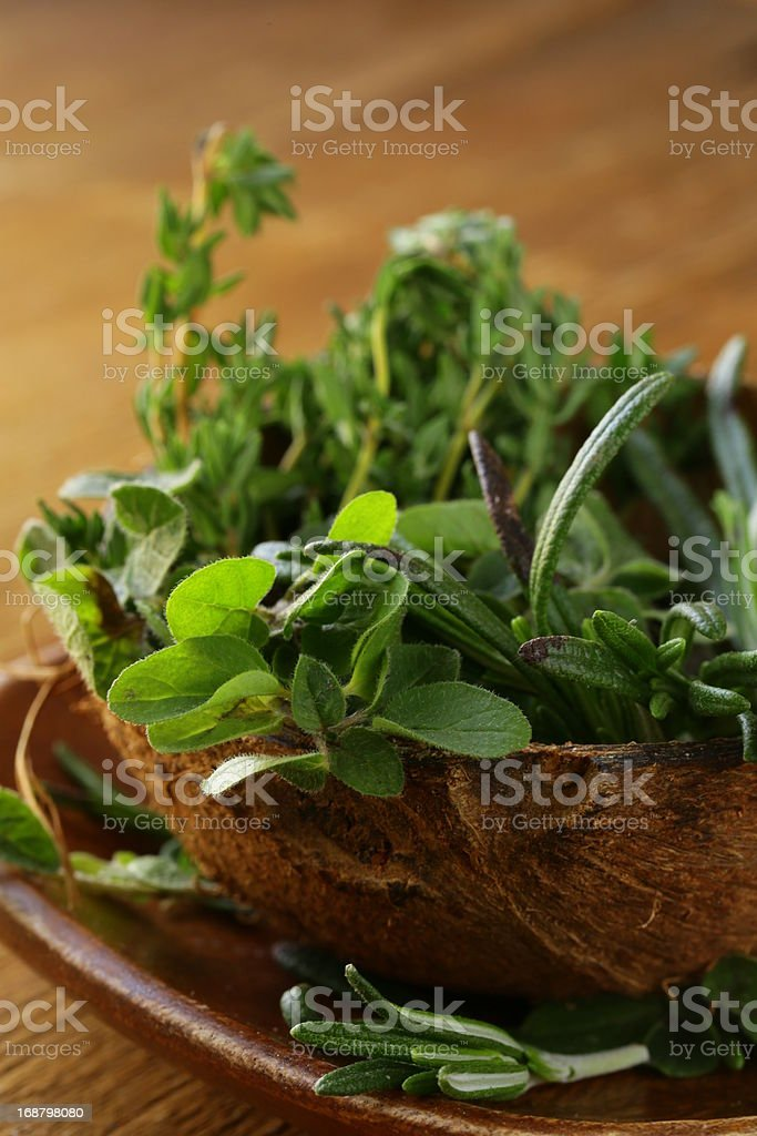various herbs spices (rosemary, thyme, oregano) royalty-free stock photo