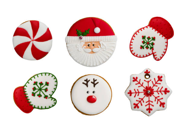 various homemade christmas cookies top view isolated on white background - christmas cookies imagens e fotografias de stock