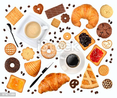 Various objects related to breakfast isolated on white without shadow.