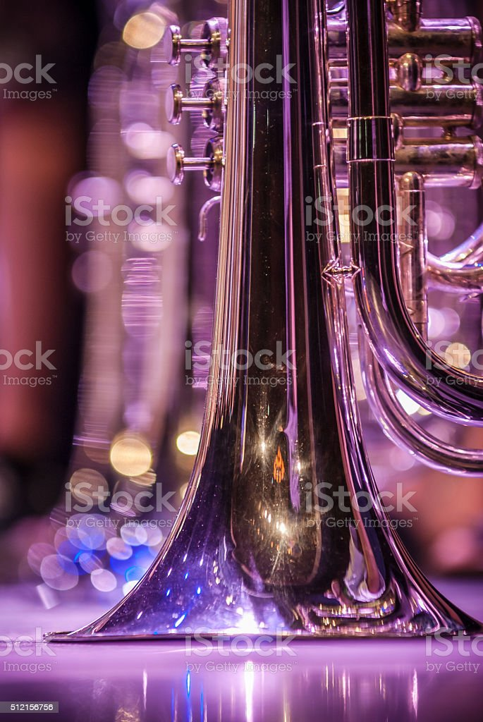 Various instruments and details from a music band of windband stock photo