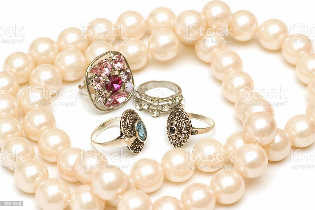 Various jewelery isolated on the white background royalty-free stock photo