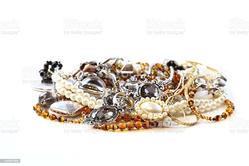 Various jewellery and accessories on white background stock photo