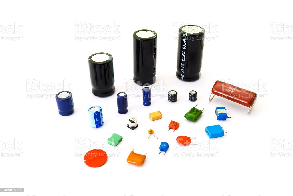 Various kinds of capacitors stock photo