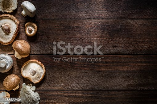 Top view of various kinds of edible mushrooms like champignon, shiitake mushroom, oyster mushroom and crimini mushroom on a rustic wooden table. The mushrooms are at the left border of the image so there is a useful copy space at the right side. Low key DSLR photo taken with Canon EOS 6D Mark II and Canon EF 24-105 mm f/4L