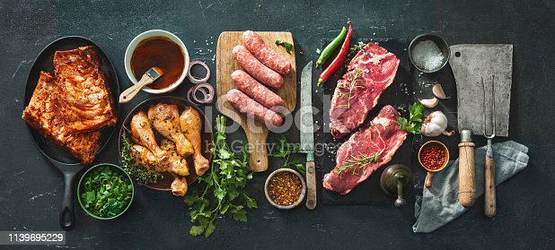 istock Various kinds of grill and bbq meats with vintage kitchen and butcher utensils 1139695229