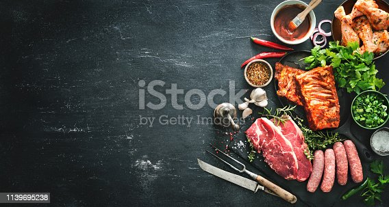 istock Various kinds of grill and bbq meats with vintage kitchen and butcher utensils 1139695238