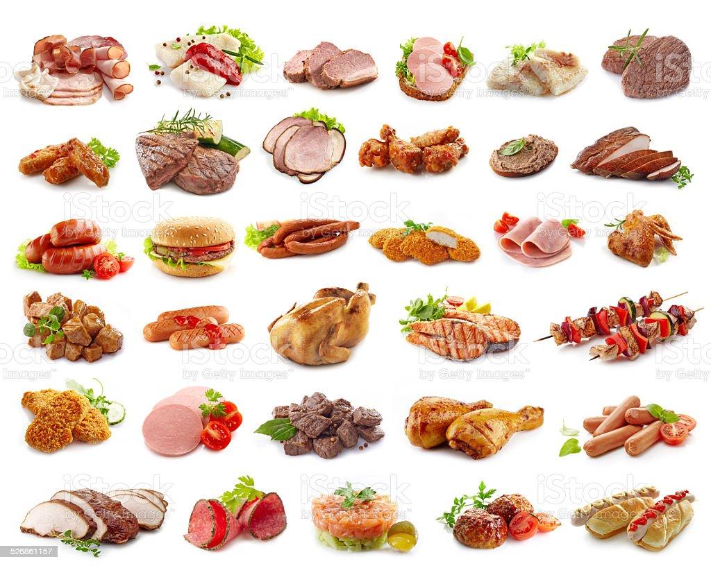 Diferentes tipos de productos derivados de la carne - foto de stock
