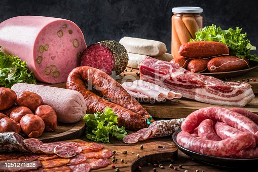 Front view of various kinds of raw sausages like mortadella, bacon, salami, ham and pickled sausages on a delicatessen concept background. Sausages are on a rustic wooden table. Studio shot taken with Canon EOS 6D Mark II and Canon EF 24-105 mm f/4L