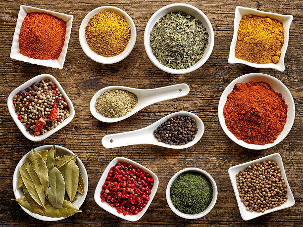 various kinds of spices stock photo