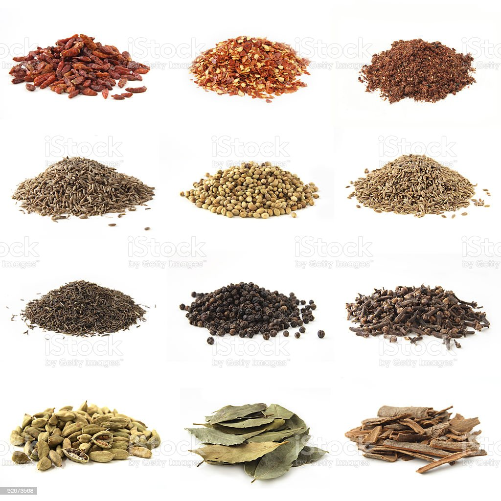 various kinds of twelve spices stock photo