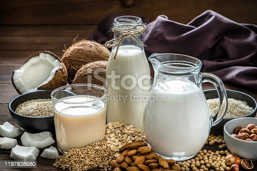 Front view of a drinking glass, a bottle and a jug filled with fresh organic vegan milks surrounded by oat flakes, soy beans, quinoa seeds, rice grains, spelt grains, hazelnuts, almonds and coconuts pieces. Low key DSLR photo taken with Canon EOS 6D Mark II and Canon EF 24-105 mm f/4L
