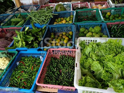 Various kinds of vegetables on the market