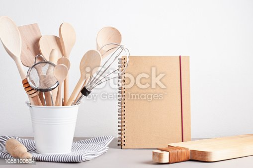 Various kitchen utensils. Recipe cookbook and cooking classes concept