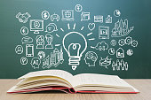 istock Various knowledge and blackboard backgrounds for learning through reading - smartphones, computers, networks, and business ideas. 1261541463
