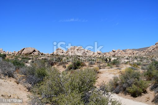 Various landscapes of rocks and desert at Joshua tree national park with some strange looking rocks