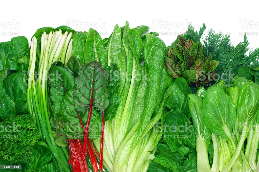 Various leafy vegetables stock photo