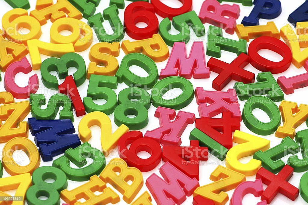 Various letters and digits on the white board stock photo