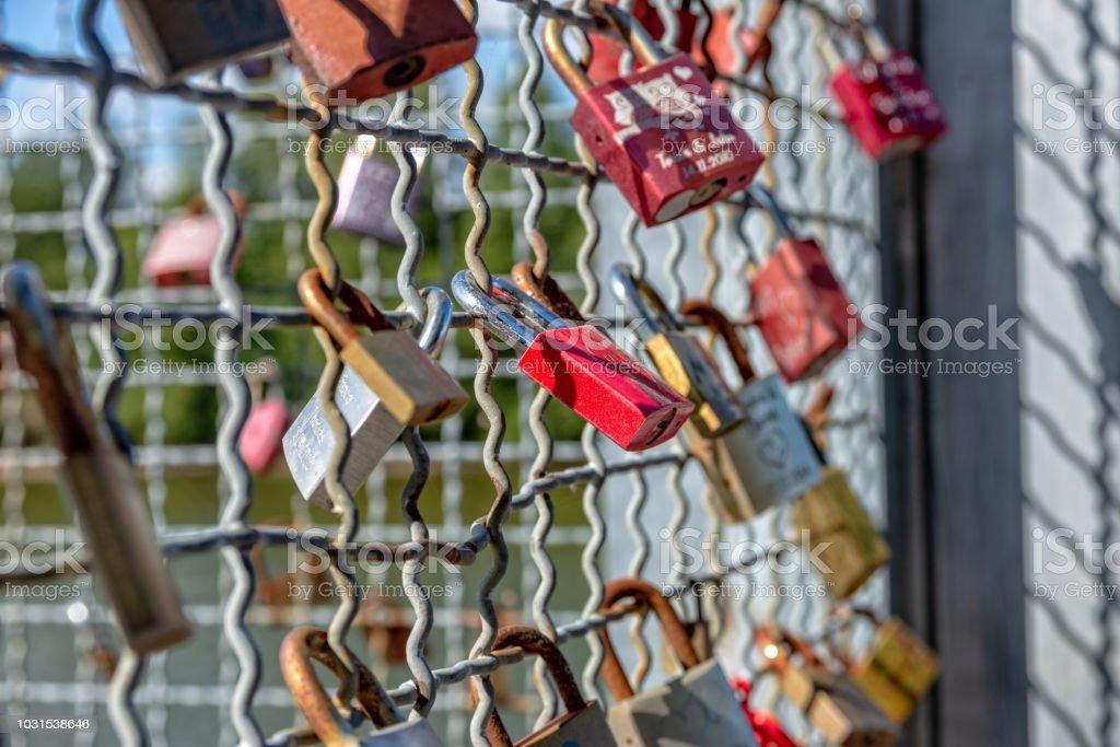 Varias Cerraduras Con Nombres En Una Red Metálica Foto De