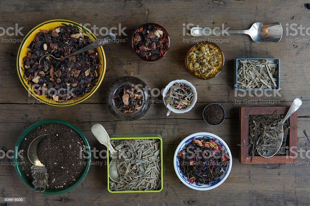 Various loose leaf teas stock photo