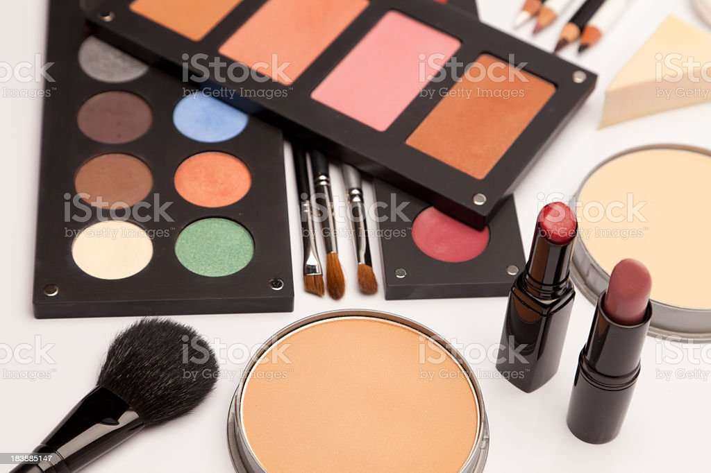 Various make up products (cosmetics) royalty-free stock photo