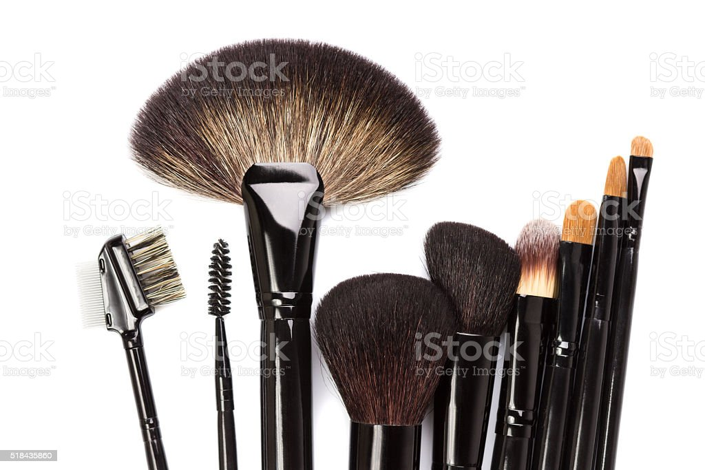 Various makeup brushes isolated on white stock photo