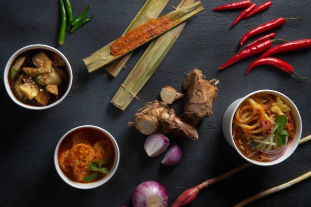 vários alimentos ácidos da Malásia laksa, rojak e tofu - foto de acervo