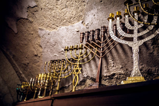 Various menorahs Various menorahs, symbol of judaism, religious objects judaism stock pictures, royalty-free photos & images