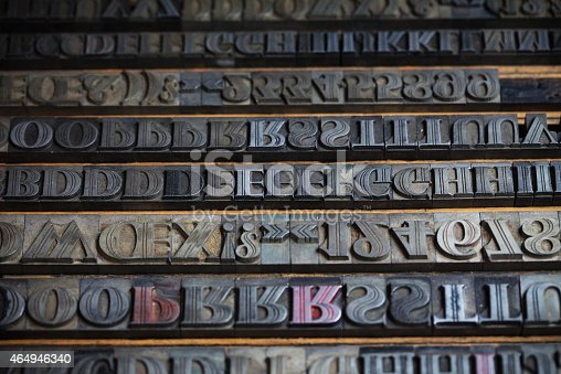istock Various metal printing press letters 464946340